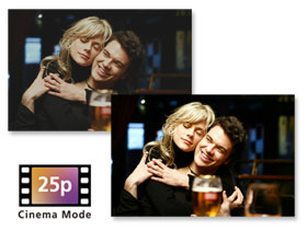 25p Cinema Mode gives you more detail in light and shadow areas - like feature films.