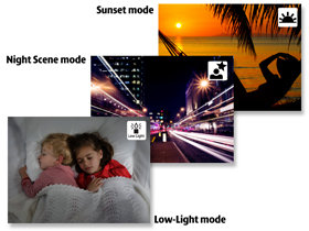 Use scene modes to get the best shots for sunset, low-light and night time shooting
