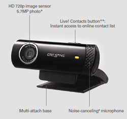 The Live! Cam Chat includes a 720p image sensor and a noise-cancelling microphone