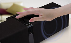 The stylish design includes a touch sensitive volume control