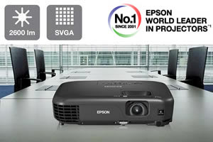 Easy-to-use SVGA projector with 2,600 lumens for bright projections even in daylight