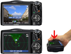 The FinePix F770EXR features improved GPS performance including a radar view of nearby landmarks