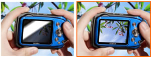 The anti-reflective coating on the LCD display helps composition in bright sunlight or underwater
