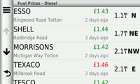 Get fuel prices and be directed to the petrol station with Smartphone Link