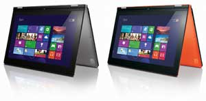 The stylish and compact Lenovo IdeaPad Yoga 13 is available in a choice of attractive colours: Clementine Orange or Silver Grey