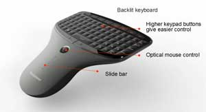 The included wireless multimedia remote with mini-keyboard and mouse allows you to control the Q180 in comfort