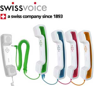 The Swissvoice ePure iconic handset is available in a choice of five attractive colours.