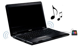 Even when your laptop's powered off, you can still listen to music through the speakers by plugging in your MP3 player.