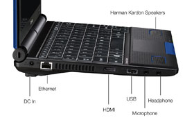 Toshiba NB550D left ports