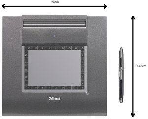 Low profile tablet with 140 x 100 mm working space.