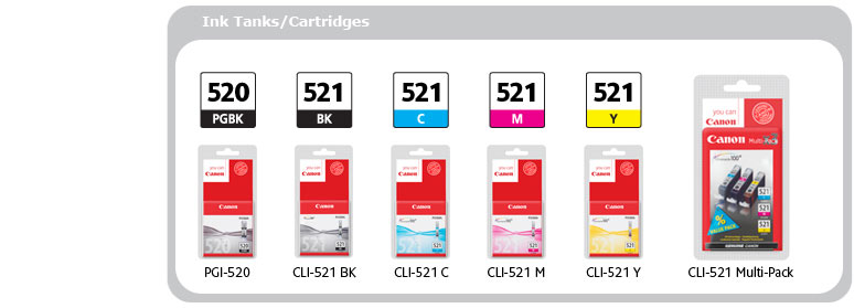Ink Tanks/Cartridges: PGI-520 PGBK, CLI-521 BK, CLI-521 C, CLI-521 M, CLI-521 Y, CLI-521 Multi-Pack