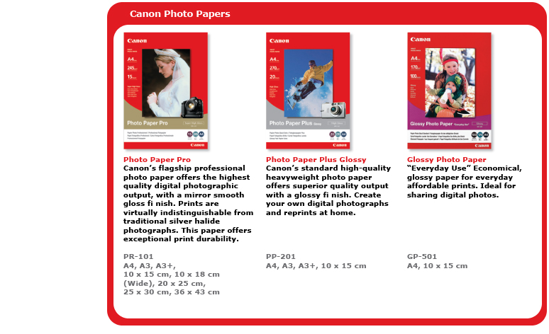 Canon Photo Papers -- Photo Paper Pro (PR-101): Canon's flagship professional photo paper offers the highest quality digital photographic output, with a mirror smooth gloss finish. Prints are virtually indistinguishable from traditional silver halide photographs. This paper offers exceptional print durability; Photo Paper Plus Glossy (PP-201): Canon's standard high-quality heavyweight photo paper offers superior quality output with a glossy finish. Create your own digital photographs and reprints at home; Glossy Photo Paper (GP-501): 'Everyday Use' economical, glossy paper for everyday affordable prints. Ideal for sharing digital photos.