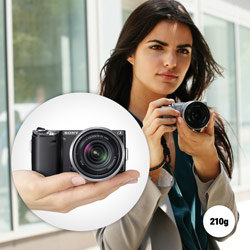 Discover the creative benefits of a sophisticated DSLR without compromising on size or weight. Slim enough to slip in and out of a bag or pocket – a perfect combination of portability, performance and ease of use.