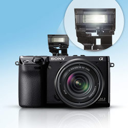 The NEx-7 is bursting with features such as a built-in flash.
