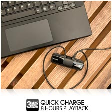 3 minute quick charge gives you 1 hour listening from flat.