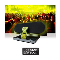 One touch bass boost for deeper, richer bass with no distortion.