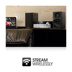 Stream your music wirelessly from your PC and device without docking thanks to built in WI-Fi