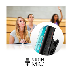 Built in microphone is ideal for recording voice memos or University lectures