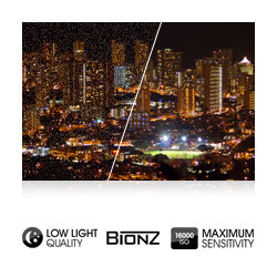 ISO 16000 maximum sensitivity with BIONZ processor noise reduction for natural-looking images, even in low light conditions.