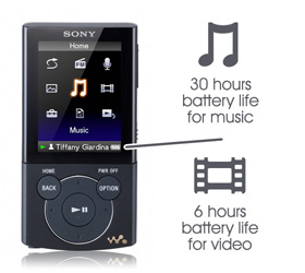 Long battery life. Up to 30 hrs audio / 6 hrs video