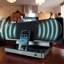 Play your music wirelessly through any speaker dock.