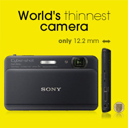 World's thinnest compact* camera at 12.1mm thick.