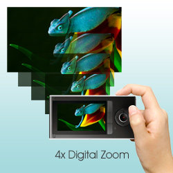Take pin-sharp, crystal clear photos in 5.1 megapixel resolution using the handy 4x Digital Zoom to get up close and personal with your subjects.