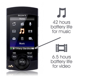 Long battery life. Up to 42 hrs audio / 6.5 hrs video