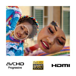 Full 1080 High Definition movies in 50i for the smooth video quality as well as 25p for cinematic feel.