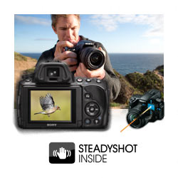 SteadyShot INSIDE image stabilization: Effective enough at shutter speeds approximately 2.5 to 4.5 steps slower than would otherwise be possible while supporting all alpha lenses.