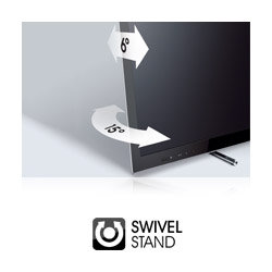 The sleek easel stand lets tilts 6 degrees so it can be positioned on lower furniture.