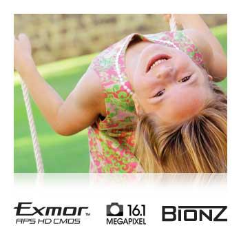 16.1-megapixel Exmor APS HD CMOS sensor and BIONZ image processor.
