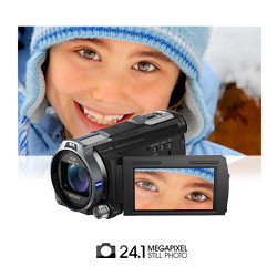 Capture supremely detailed 24.1 megapixel still photos with up to 10x optical zoom on a Carl Zeiss lens.