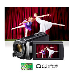 Capture high quality 5.3 megapixel photos with 25x optical zoom Carl Zeiss lens.
