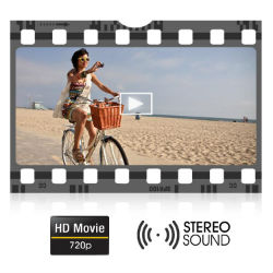 One touch recording of smooth 720P HD movies with stereo sound.