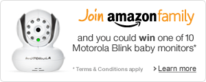 Join Amazon Family for a chance to win one of 10 Motorola Blink monitors