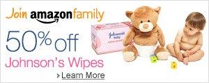 Amazon Family: 50% off Johnson's Wipes