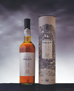 Oban 14 Year Old Whisky Bottle and Pack Visual