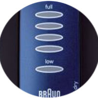 The Braun Series 3 380-3 has 6 LED indicators that provide charge and replacement part information
