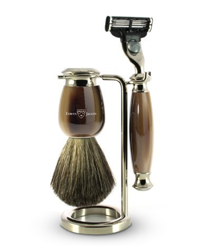 Edwin Jagger Simulated Horn and Nickel Shaving Set with Gillette Mach 3 Razor/ Pure Badger Shaving Brush and Stand