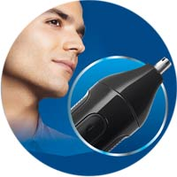 Nose, ear and eyebrow trimmer attachment