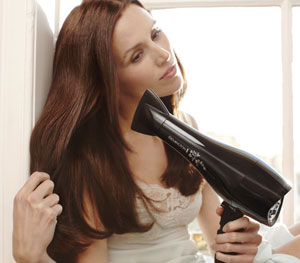 The Remington Pearl Hair Dryer in use