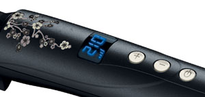 The Pearl Curling Wand's digital display and LCD temperature lock