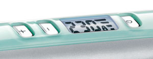 The Remington Shine Therapy hair straightener's digital control and display