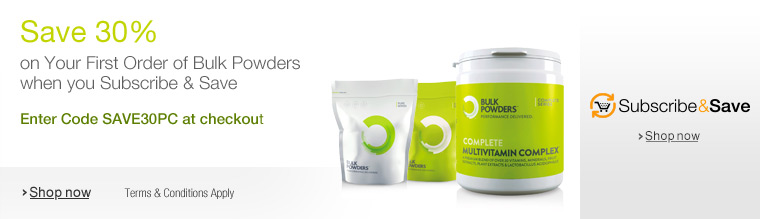 Save 30% on your First Order of Bulk Powders Sports Nutrition when you Subscribe & Save