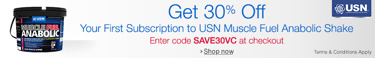Get 30% Off You First Subscription to USN Muscle Fuel Anabolic Shake--Enter code SAVE30VC at checkout