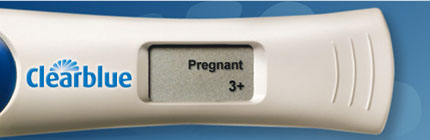 Clearblue Digital Pregnancy Test Kit With Conception Indicator indicates 3+ weeks pregnant