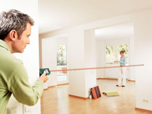 The Bosch PLR 25 Laser Range Finder measures distance, calculates areas and volumes, and small so fits in your pocket