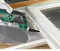 The Universal Groove cutter attachment allows for easy removal of joint-filling compounds