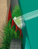 The Bosch Rotak 43 LI's grass combs lets you cut all the grass close to or over the edge of your lawn